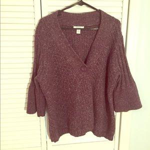Dress Barn Purple V-Neck Textured Knit Sweater